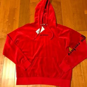 Juicy Couture red velour oversized hoodie S